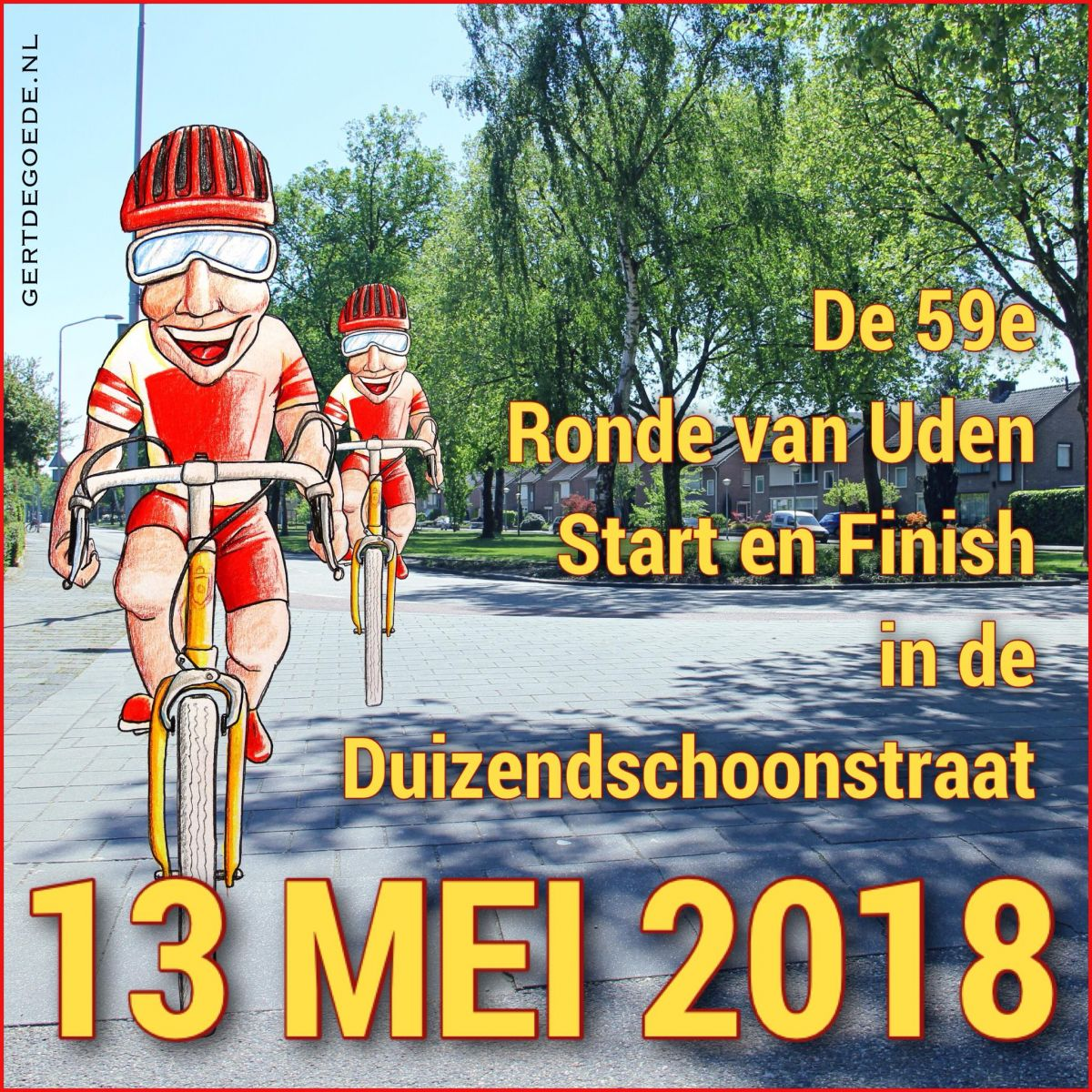 wielrennen fietsen cycling bicycle renners Uden Bitswijk Brabant Noord #illustration #illustrator #illustratie #illustrazione #illustrazioni #ambachtelijk #ambacht #vrolijk #happy #fun #cheerful #cartoon #comic #photoedit #thumbsup #artwork #fröhlich #cheerful #gai #glædelig #lëschtegb #快活 插图 #gertdegoede #art 	#искусство