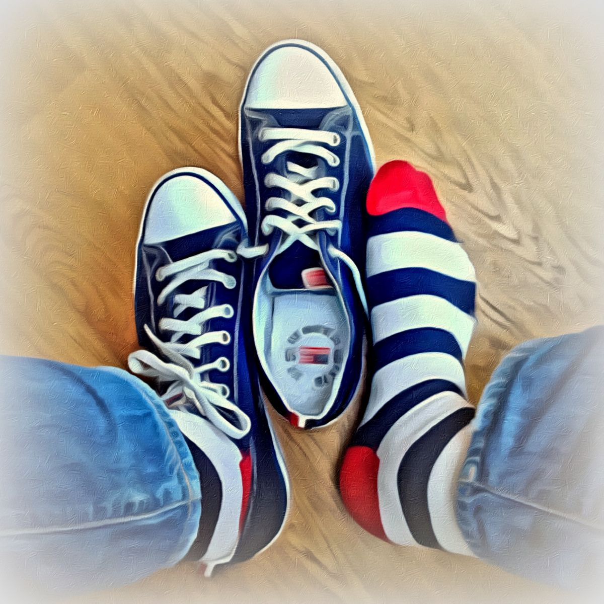 gert de goede illustratie illustration red white blue sneakers rood wit blauwe gympies